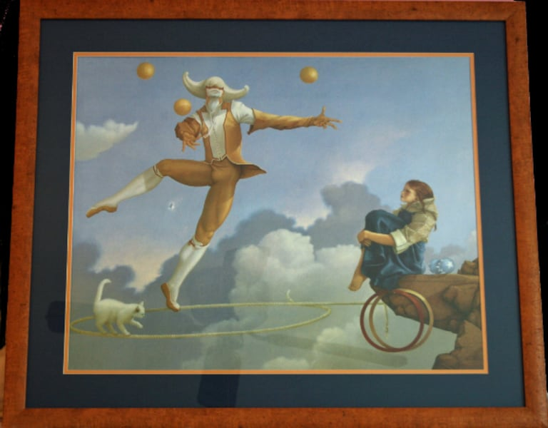 """The Juggler"" MICHAEL PARKES Framed Print  c2c84a6b-a127-452d-b573-09d3fa6df444"