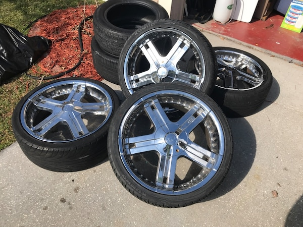 Used 60 Lincoln LSE 60 Inch Rims Two New Tires Bolt Pattern Gorgeous 5x108 Bolt Pattern