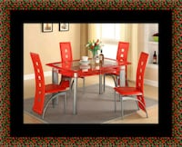 Glass red dining table with leather chairs Lanham, 20706