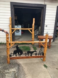 Hand made log rustic bed and nightstand
