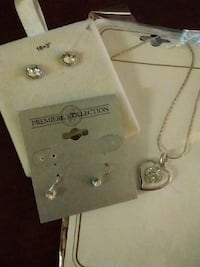 necklace and two pair of earrings