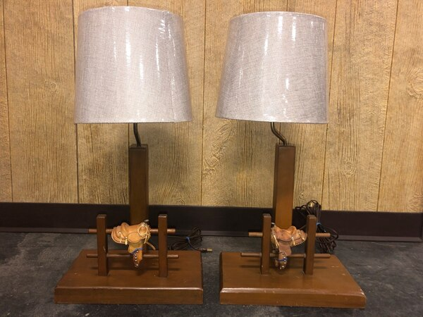 Western Saddle Cowboy Lamps with Brand New Shades