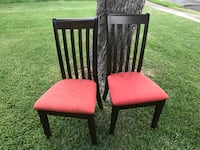 two brown wooden framed red padded chairs Austin, 78750