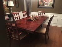 rectangular brown wooden table with four chairs dining set Clinton, 39056