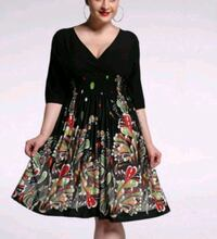XXL black and floral skater dress