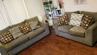 gray fabric 3and2-seat sofa