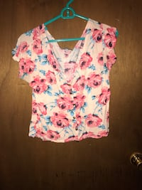 Women's white and pink floral shirt
