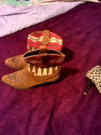 brown leather heeled western booties Indianapolis, 46239