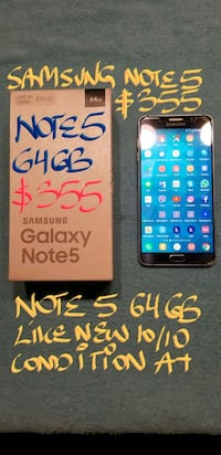 SAMSUNG BL NOTE 5 64GB 10/10Mint Cond.boxFirm$355 Pointe-Claire, H9R
