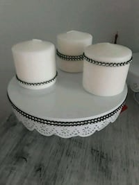 New Metal Cake Stand & Matching Candles
