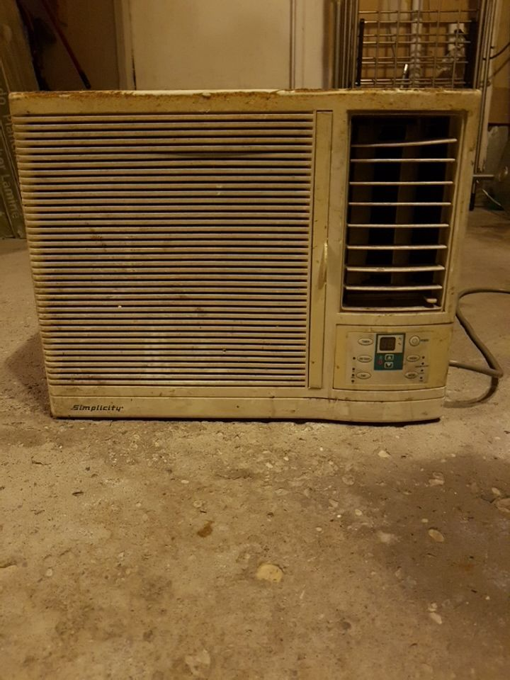 gray window type air conditioner