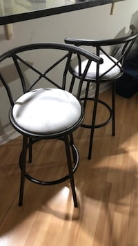 Two brown metal framed soft grey padded bar stools Toronto, M5V 3C9