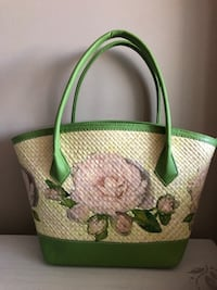green and white floral leather handbag Burnaby, V5H