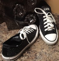 All Star Converse black & white sequinned low top sneakers Calgary, T2J
