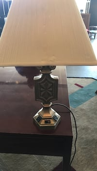 brown wooden base white shade table lamp Chamblee, 30341