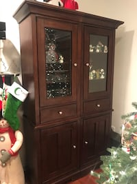 Brown wooden framed glass display cabinet Arlington Heights, 60004