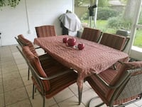 rectangular brown wooden table with six chairs dining set Tampa, 33624
