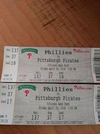 two Phillies VS Pittsburgh Pirates game tickets Philadelphia, 19124