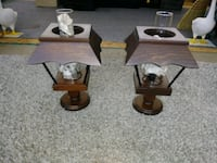 Wooden candle lamps with globes