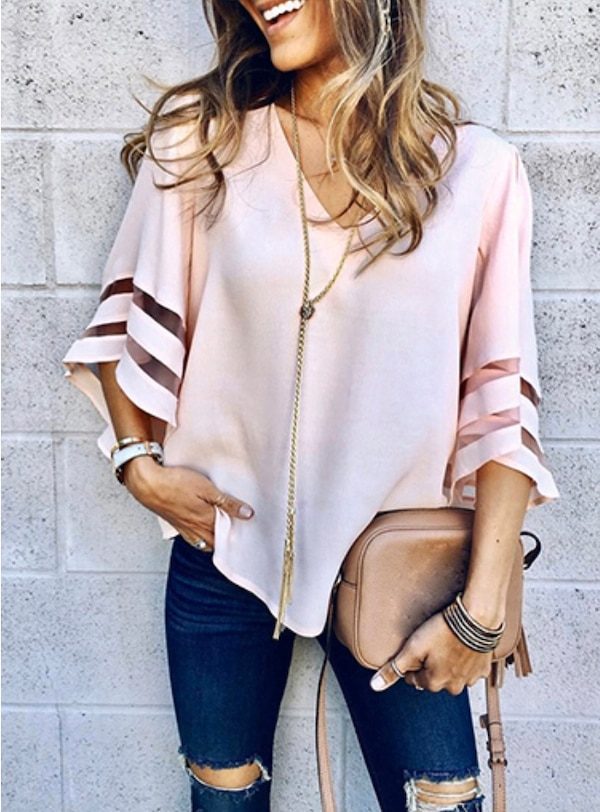 Women's Loose Fitting Blouse - Bell Sleeves / Mesh Inserts c4ea2154-92d1-48e9-9ff7-4ded83cf8555