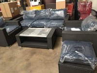 black leather sectional couch and ottoman Farmers Branch, 75234