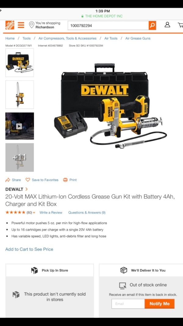 #2968-DEWALT 20-Volt MAX Lithium-Ion Cordless Grease Gun Kit with Battery  4Ah, Charger and Kit Box(NEW)