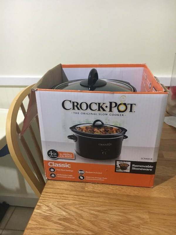 gray Crock-Pot slow cooker with box