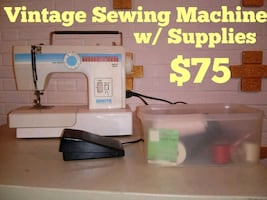 Vintage Sewing Machine with Supplies