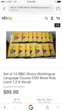 Set of 15 BBC Muzzy Multilingual Language Course DVD book screenshot Lake Elsinore, 92530