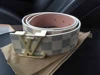 white and gray Louis Vuitton leather belt