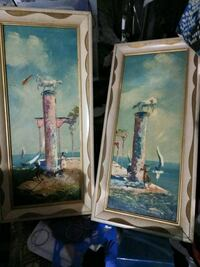 two brown wooden framed painting of flowers Anderson, 96007