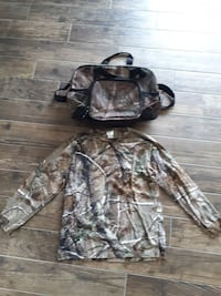 Camouflage dufflebag and shirt