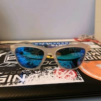 brown and blue framed sunglasses