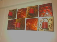 gold and red square wall mounted candle tiles Las Cruces