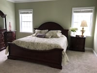 brown wooden bed frame with white mattress Leander, 78641