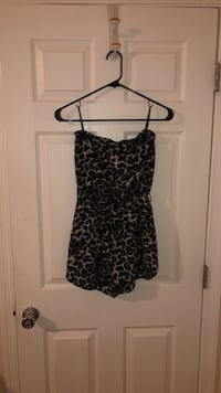 black and gray leopard print spaghetti strap dress 55 km