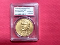 Mickey mantle bronze coin graded 10 mint