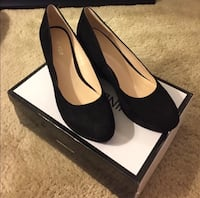 Nine West Iwondero Black Suede Wedges  Alexandria