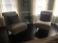 Two White Striped Accent Chairs