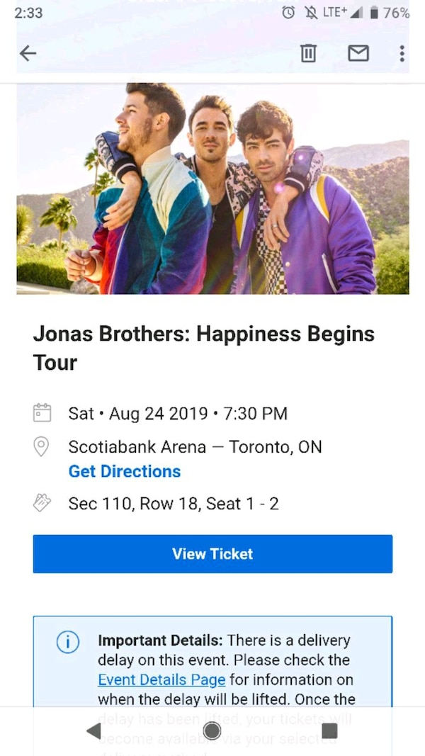 Jonas Brothers Aug 24 Tickets $200 for both