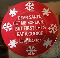 Personalized Santa holiday cookie plates