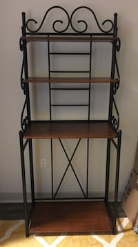 black metal frame brown wooden rack Laurel