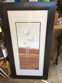 White and brown flower painting with black wooden frame San Jose, 95125