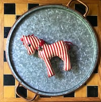 Nostalgic Christmas - Vintage 1950's Toy - Red And White Striped Oil Cloth Vinyl Stuffed Horse Raleigh, 27612