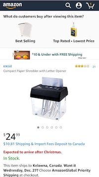 Compact paper shredder with letter opener screenshot Kelowna, V1X 1Y9