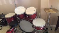 red and black drum set. Palm Bay. Used two times