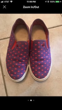 Pair of purple-and-pink slip on shoes 6  Herndon, 20170