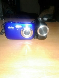 Blue Camera and black Camcorder