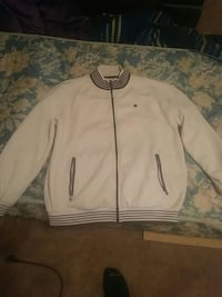 white and black letterman jacket