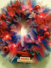 red, blue, and yellow wreath Rockville, 20850